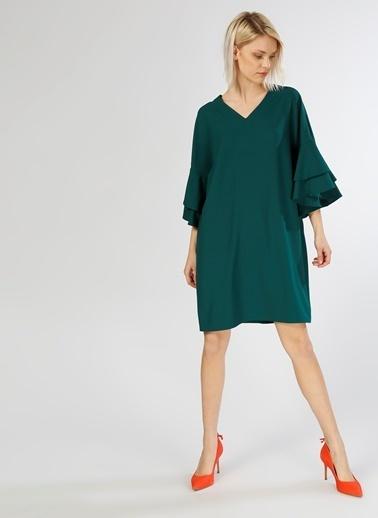 Limon Company V Yaka Yarasa Kol Kısa Elbise Yeşil
